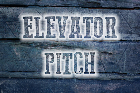 business pitch: Elevator Pitch Concept text on background Stock Photo