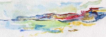 watercolor sea and beach paysage