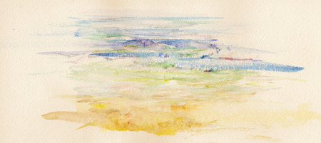 paysage: watercolor beach Stock Photo
