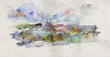 paysage: watercolor paysage Stock Photo