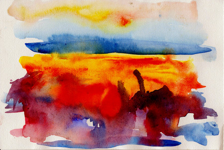 paysage: watercolor abstract desert paysage