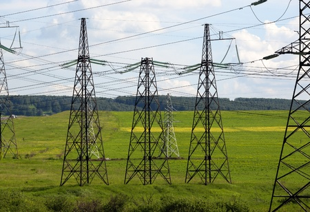 poling: Electrical towers Stock Photo