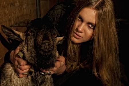 gothic fetish: Gothic girl and goats