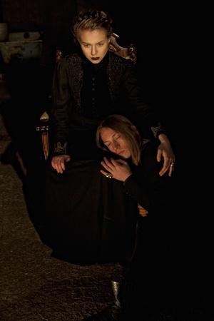 gothic fetish: Gothic girl and man Stock Photo