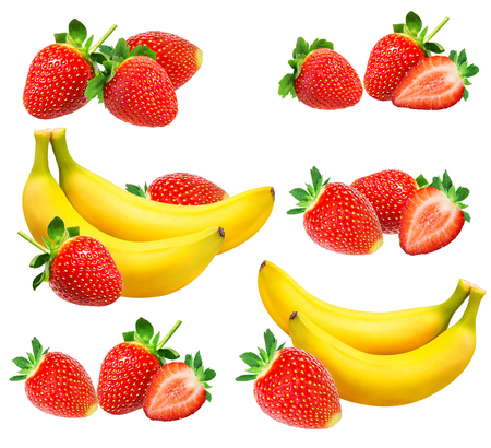 Bananas and strawberries isolated on white