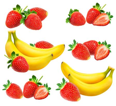 plátanos y fresas aislados en blanco