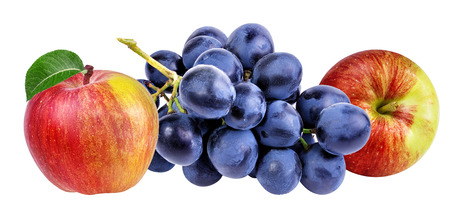 white grape: apples and grapes isolated on white ,close-up Stock Photo