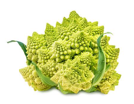 Romanesco broccoli, or Roman cauliflower on the white background