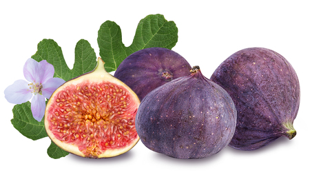 macr: Fruits figs on white background