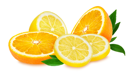 lemon and orange fruit isolated on white background