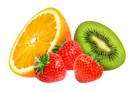 Strawberry,orange and kiwi fruit  isolated on white background