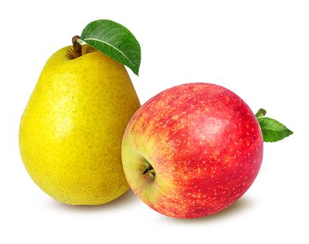 Äpfel und Birnen isoliert auf weißem Hintergrund