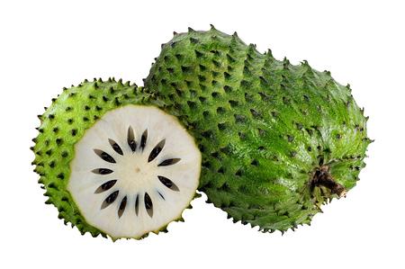 Annona muricata.Soursop Obst (Sugar Apple, Vanillepudding Apfel) isoliert auf weißem Hintergrund Standard-Bild - 87164544