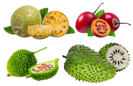 collection of fresh fruits isolated on white background Stock Photo