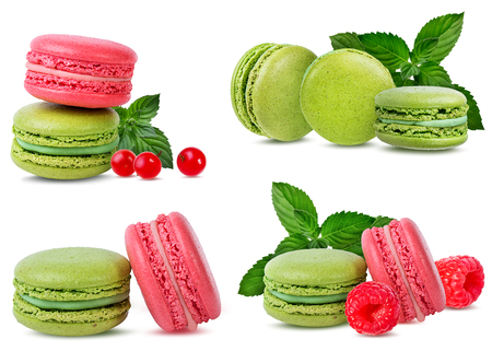 Macaroons mint and raspberries  isolated on white