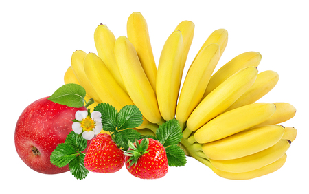 Bananas , strawberries and apples   isolated on white background
