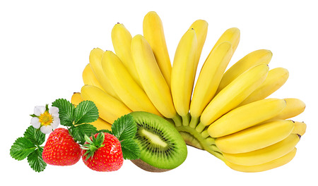 Bananas, kiwi  and strawberries isolated on white