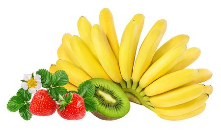 Bananas, kiwi  and strawberries isolated on white