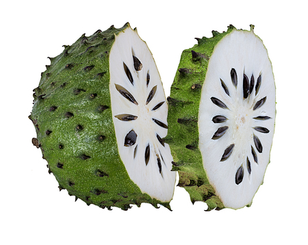Annona muricata.oursop fruit (Sugar Apple,ustard apple) isolated on white background