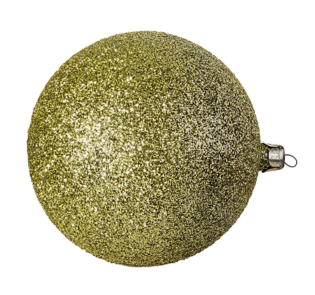 christmas ball hanging on ribbon isolated on white