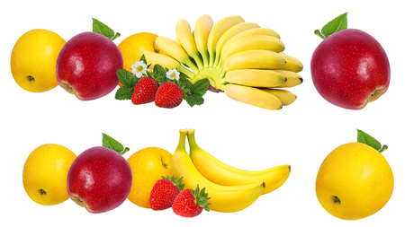 Bananas, strawberries and apples   isolated on white background
