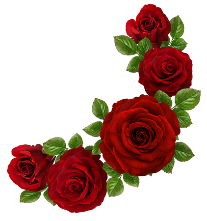 Roses Art Design . Frame made roses, green leaves Valentines  with roses. Valentines day card concept. 스톡 콘텐츠