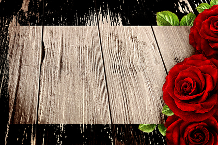 Red rose  frame on a wooden board, Valentines day concept