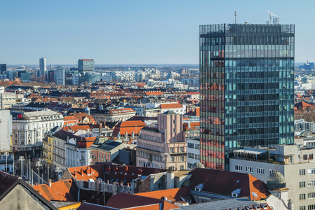 Aerial view of Zagreb center from Lotrscak tower Stock Photo