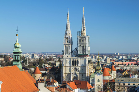 upper: Catholic cathedral in Zagreb from Upper town