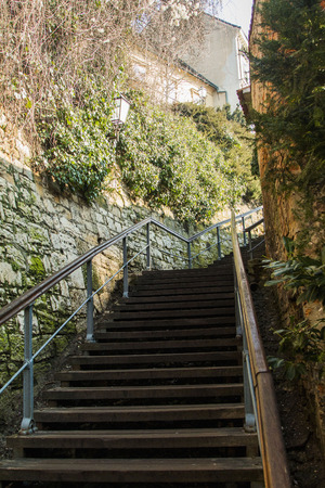 down town: Wooden stairs from down town to historic upper town in Zagreb