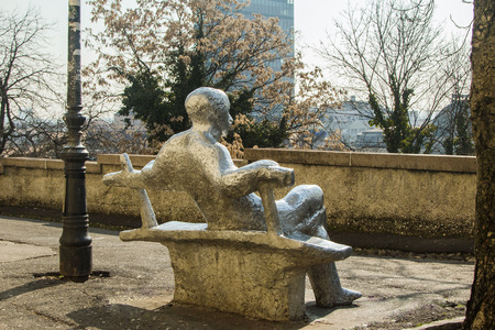 Public statue on bench on Upper town in Zagreb