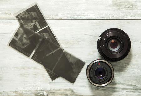 negative film: Old camera lenses and negative film Stock Photo