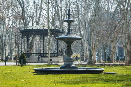 finery: Fountain and pavilion in park Zrinjevac in center of Zagreb Stock Photo