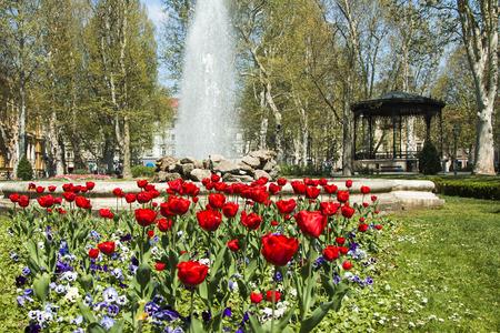 fasade: Tulips and music pavilion in Zrinjevac park in Zagreb, Croatia