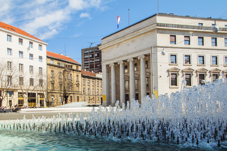 central europe: Croatian national bank palace and fountain in Zagreb