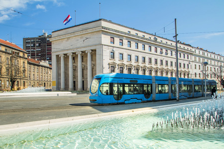 the central bank: Tram passing by Central bank of Croatia, Zagreb Editorial