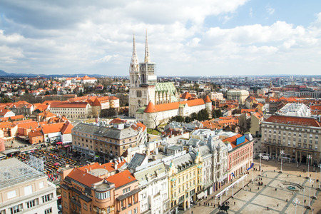 Jelacic square and catholic cathedral in Zagreb, Croatia