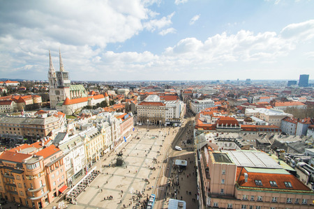 Jelacic square and down town in Zagreb, Croatia Stock Photo