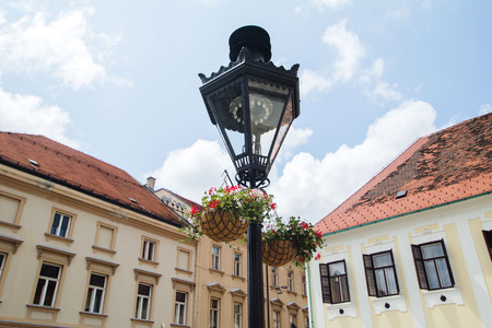 st mark's square: Traditional lantern on St Marks Square in Zagreb Croatia Stock Photo