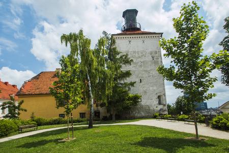 upper: Lotrscak tower on Upper town in Zagreb Croatia Editorial