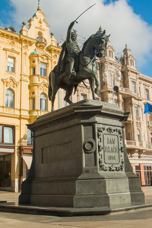 Statue of Ban Jelacic on Jelacic Square in Zagreb Stock fotó
