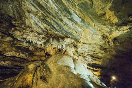 caving: Natural Cave Lokvarka in Gorski Kotar, Croatia Stock Photo