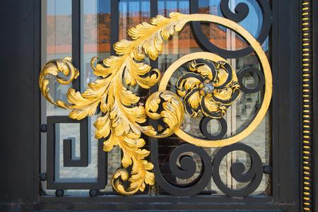 gold en: Ornaments on the door of the Croatian Parliament in Zagreb, Croatia Stock Photo