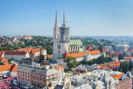 catholic: Kaptol and catholic cathedral in the center of Zagreb, Croatia, panoramic view Stock Photo