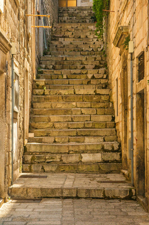 ambient: Narrow street and stairs in the Old Town in Dubrovnik, Croatia, Mediterranean ambient