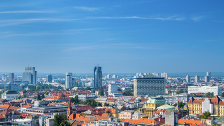 down town: Zagreb down town and modern business towers panoramic view, Croatia capital