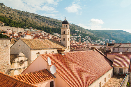 franciscan: Franciscan church and monastery with tower bell in old town Dubrovnik, Croatia