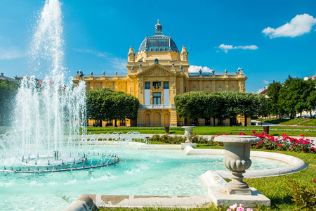 Art pavilion and fountain in Zagreb capital of Croatia Stock fotó