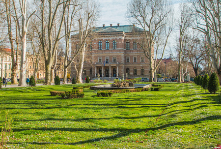 fasade: Zrinjevac and Croatian academy of science and arts in Zagreb