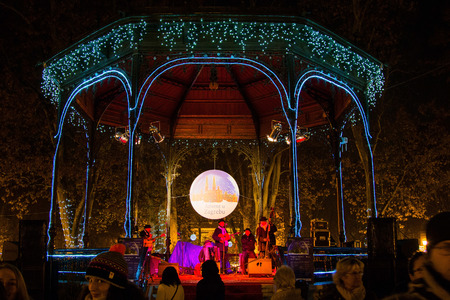 Advent in Zagreb, Croatia, music pavilion in Zrinjevac park, decorated with light, Christmas atmosphere. Advent in Zagreb is popular tourist event.